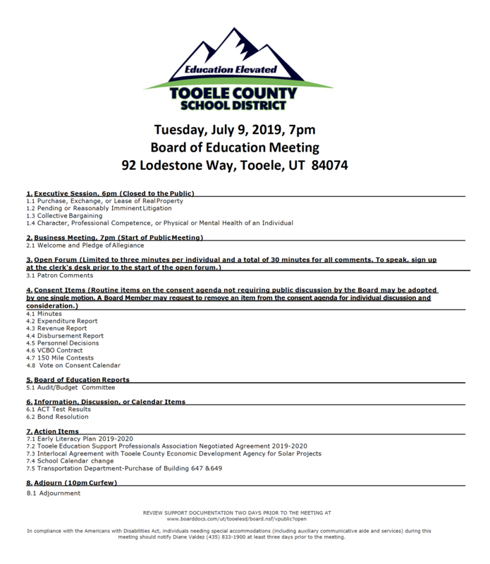 July 9, 2019 Board of Education meeting agenda