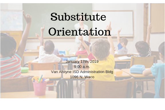 Substitute Orientation - January 17, 2019 - 9:00 a.m. Thumbnail Image