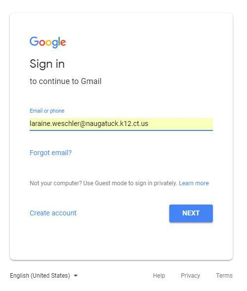 Google sign in screenshot