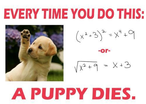 Every time you improperly square or square root a polynomial, a puppy dies