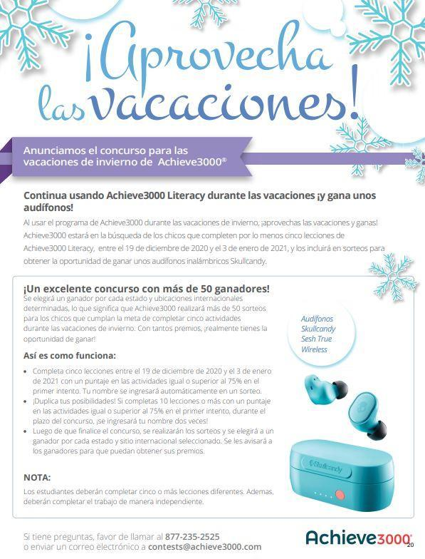 Achieve 3000 Winter contest flyer in Spanish