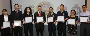 Edinburg Rotary Club honors Edinburg CISD Career and Technical Education students at the Echo Hotel in Edinburg. Pictured L-R: Economedes High School senior Maritza Flores, Economedes High School senior Alberto Chavero, Edinburg High School senior Nayle Cantu, Edinburg High School senior Leonel Ramirez, Edinburg North High School senior Briana M. Muniz, Edinburg North High School senior Anthony I. Santillana, Vela High School senior Serena Enriquez and Vela High School senior Matthew Trevino.