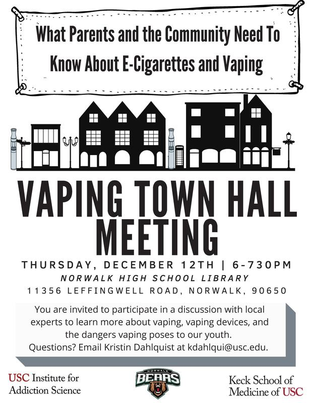 Vaping Town Hall/Reunión del Ayuntamiento de Vaping - December 12th @ 6:00-7:30 PM Featured Photo