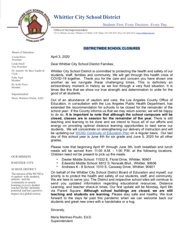 Notice 6 DISTRICTWIDE SCHOOL CLOSURES / CIERRE DE ESCUELAS EN TODO EL DISTRITO