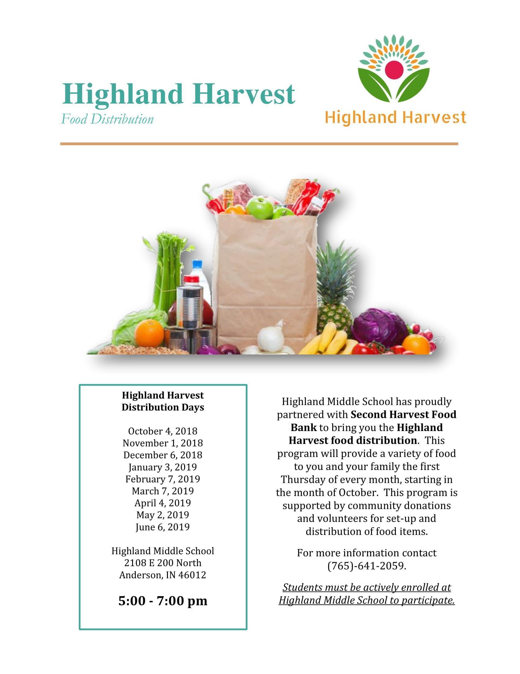 Flyer for the Highland Harvest food distribution for 2018-19