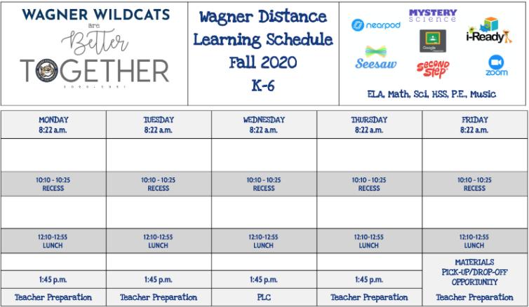 Wagner 2020-2021 Schedule: K-6