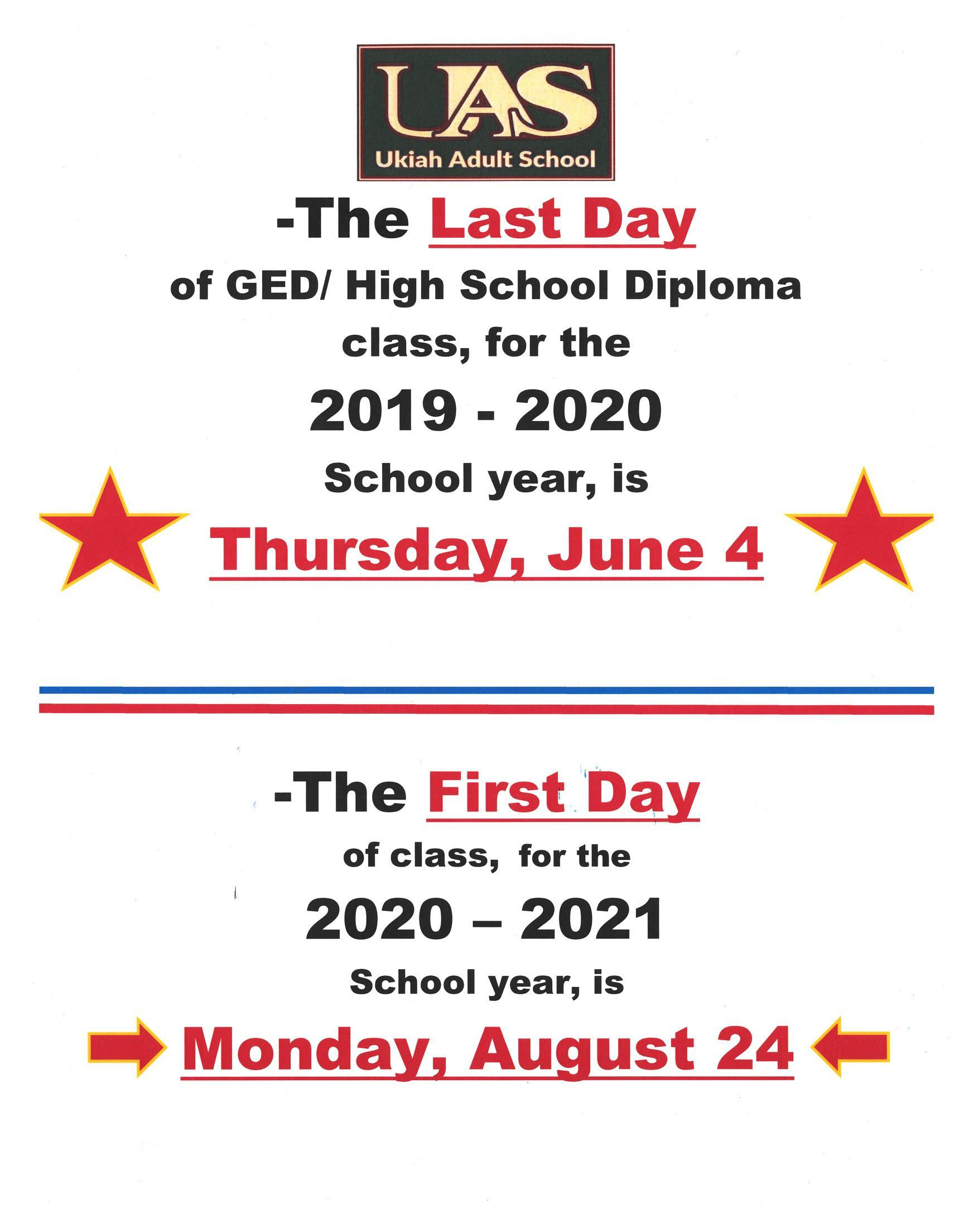 Last day of GED Diploma class is June 4, 2020.  First day of class is August 24, 2020 poster.