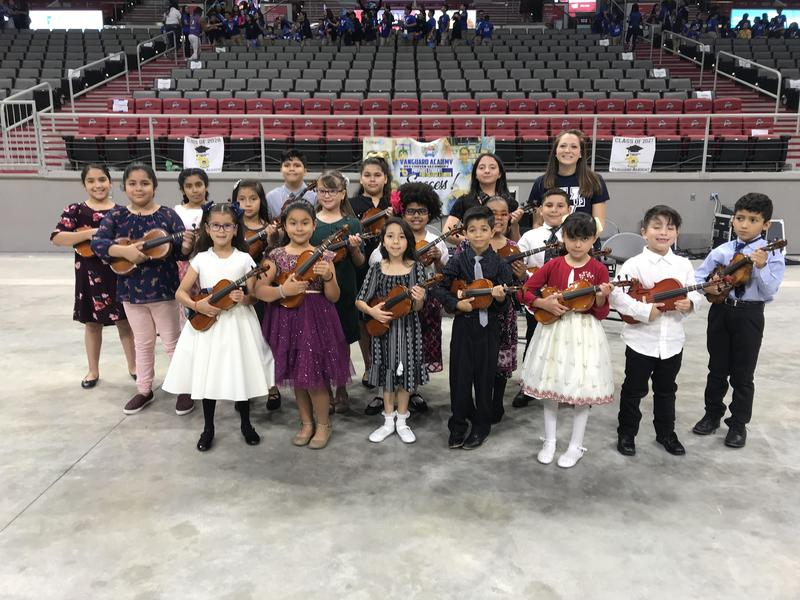 Violin Ensemble and Rembrandt Elementary dancers perform at the GearUP Back to school Rally Featured Photo