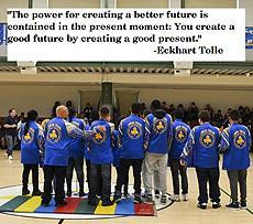"""The power for creating a better future is contained in the present: You create a good future by creating a good present.""  -Eckhart Tolle, Image of the NYI Swim Team at the Pep Rally"