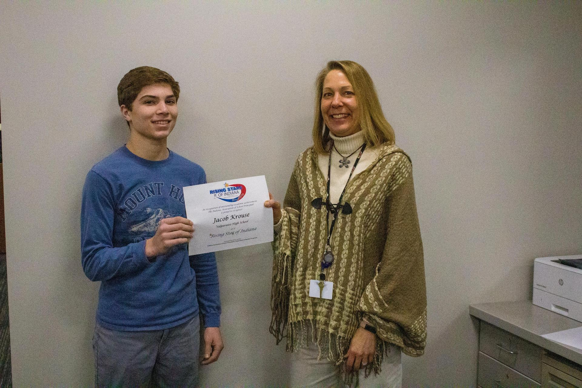 Jacob Krouse, VHS Junior receives Rising Star of Indiana Certificate