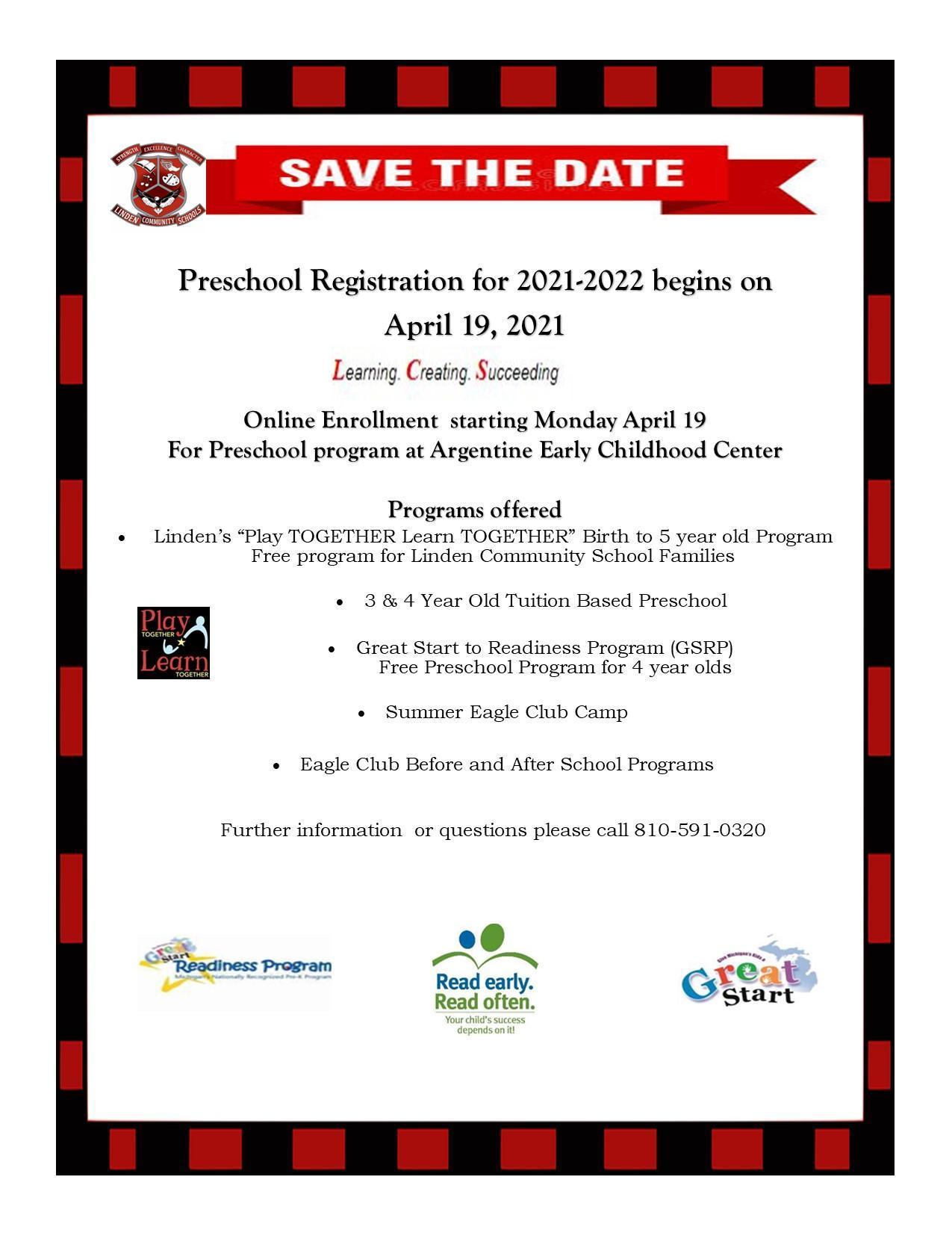 Preschool Registration Save the Date