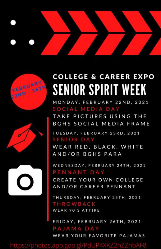 BGHS Senior Spirit Week February 22 Through 26 2021