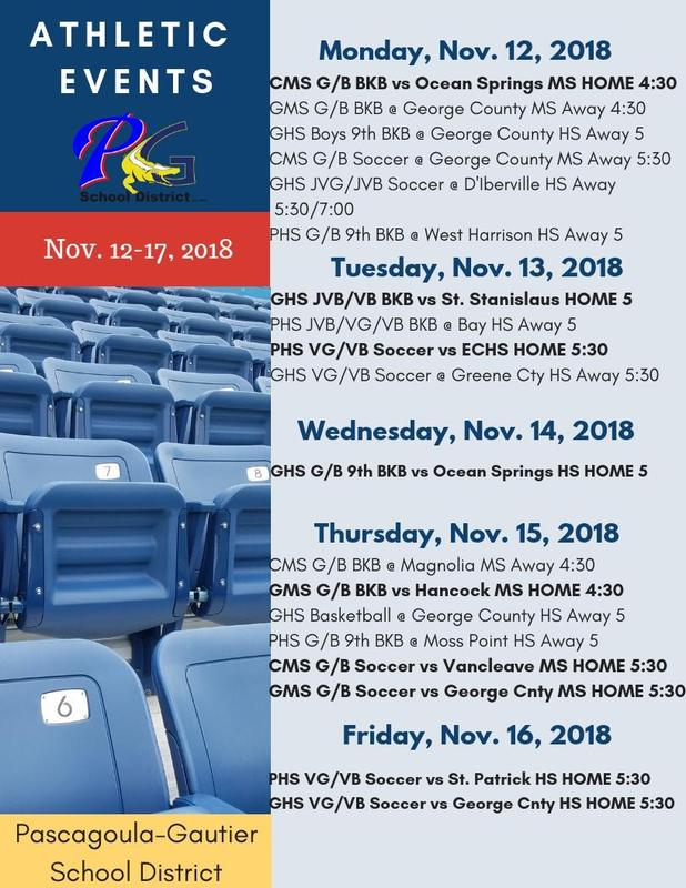 Athletic Events for Week of November 12, 2018