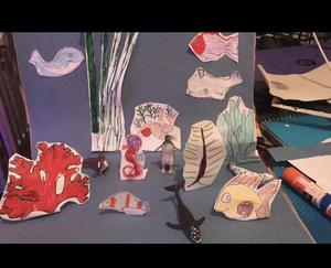 Ocean project with cutouts of drawings