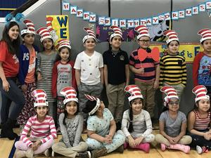 Washington students wishing dr. seuss a happy birthday