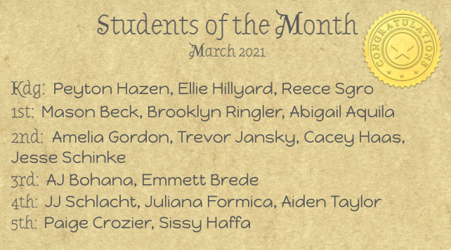 March Students of the Month ☘️ Featured Photo