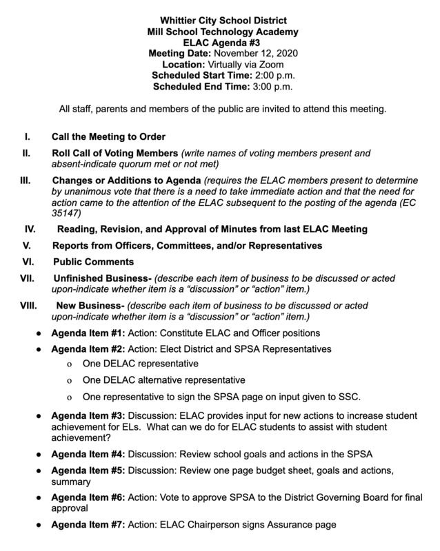 School Site Council Meeting #4 Agenda
