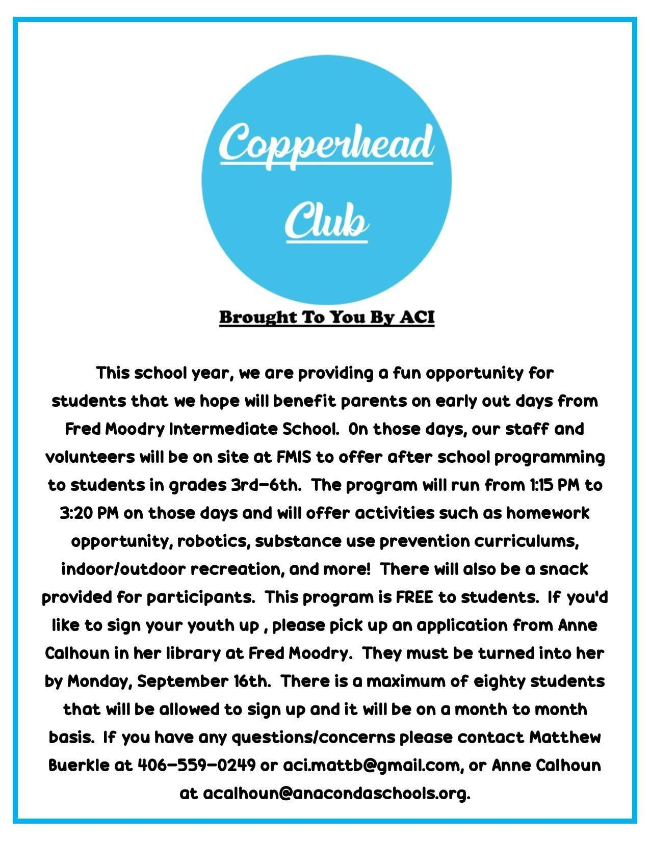 Copperhead Club Letter