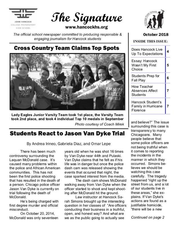 the first page of the 2018 october issue of the hancock college prep newspaper