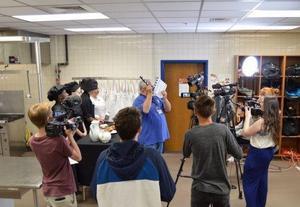 Media class filming in culinary class