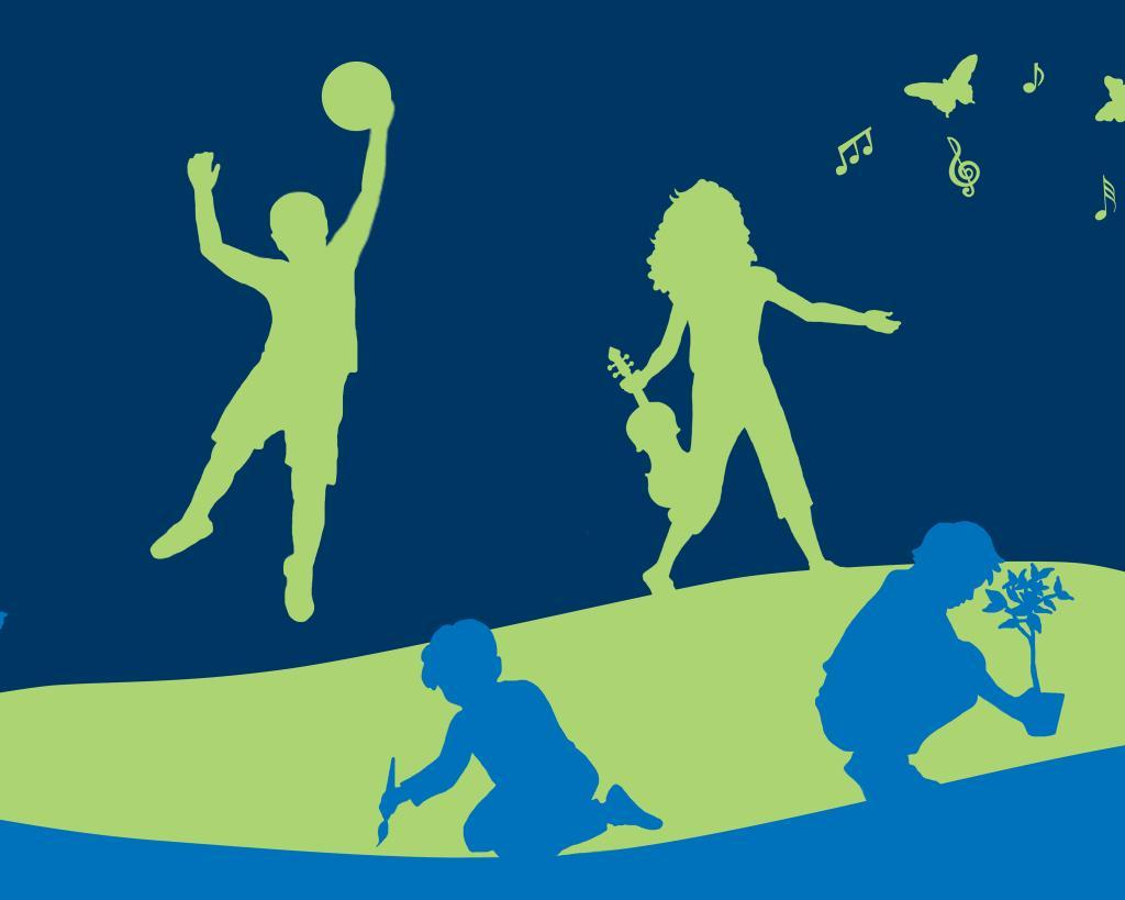 banner with silhouette of children