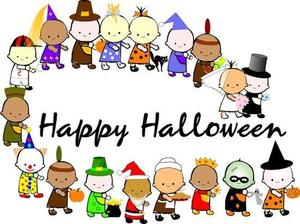 The word Happy Halloween and cartoon charactyers dressed up in Halloween outfits following each other- parade