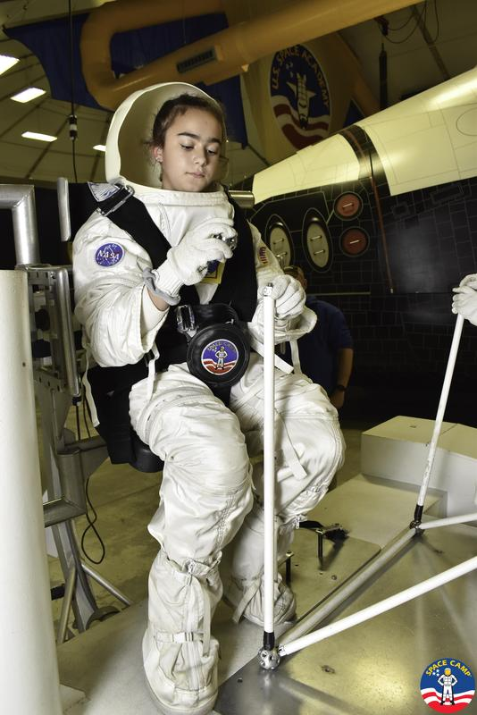 Edison 7th grader Kate Guglielmo takes part in a simulated space mission at the U.S. Space and Rocket Center in Huntsville, Alabama as part of a 5-day STEM field trip.