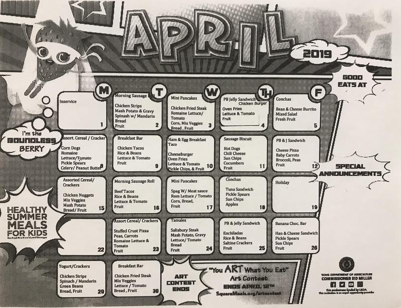 April breakfast and lunch menu Featured Photo