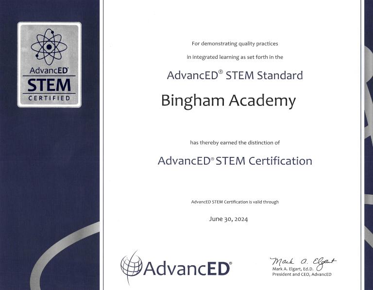 Bingham Academy STEM Certificate