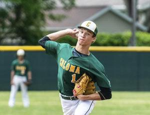 Coloma senior Calvin Starnes throws a pitch in the district semi-final against Watervliet
