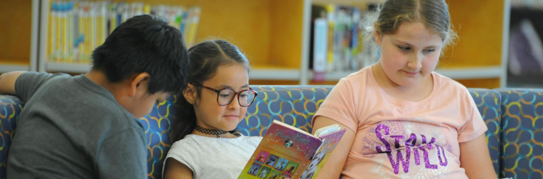 Photograph of students reading in the GTE Learning Commons