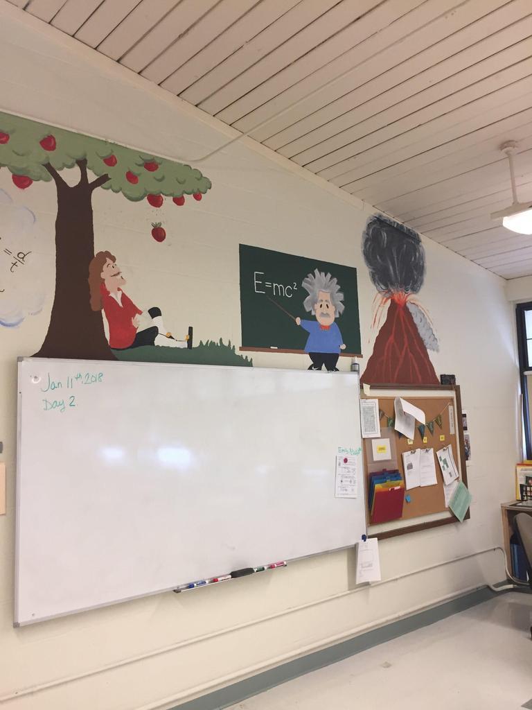mural on classroom wall