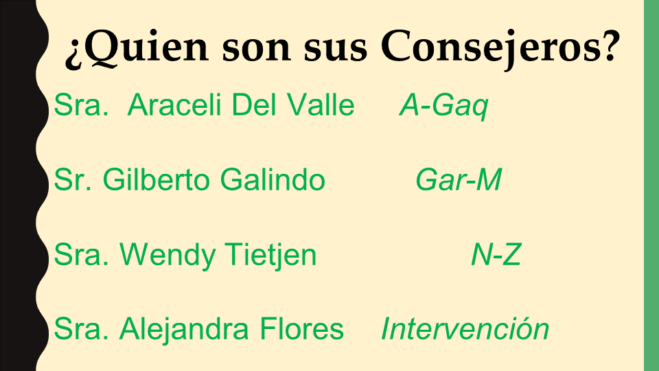 Who's your counselor powerpoint slide (Spanish)