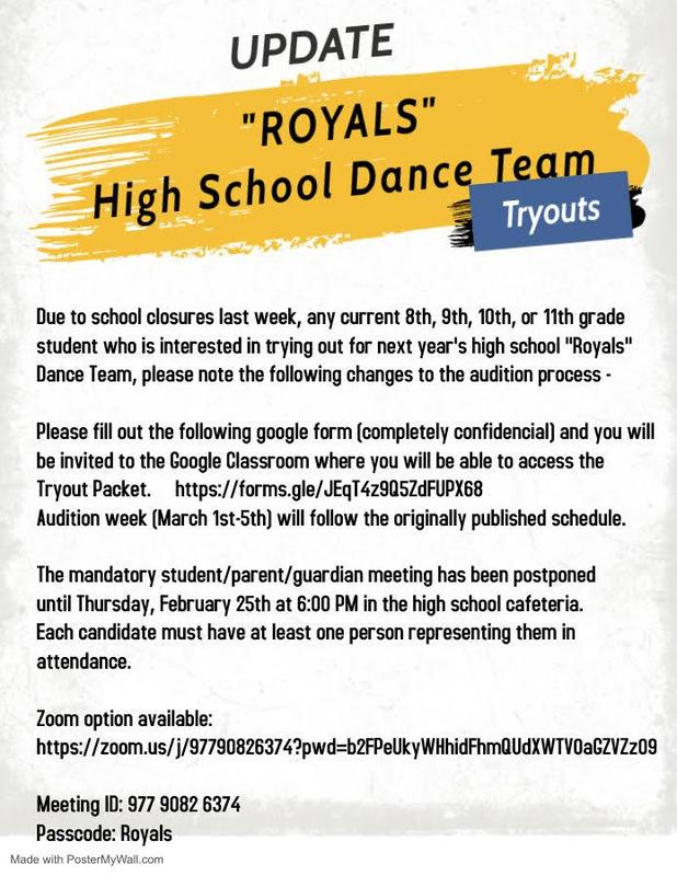 21-22 CAH Royals Dance Team Tryouts Update Featured Photo