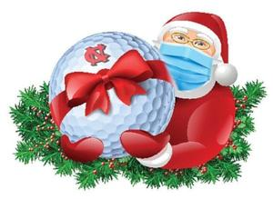 masked Santa holding a golf ball