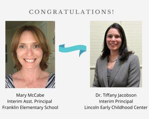 Photo of congratulations graphic with pics of two new interim administrators
