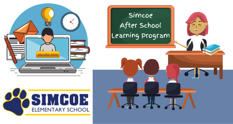 Graphics of in person teaching and online school