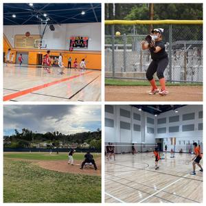 basketball, softball, badminton, baseball