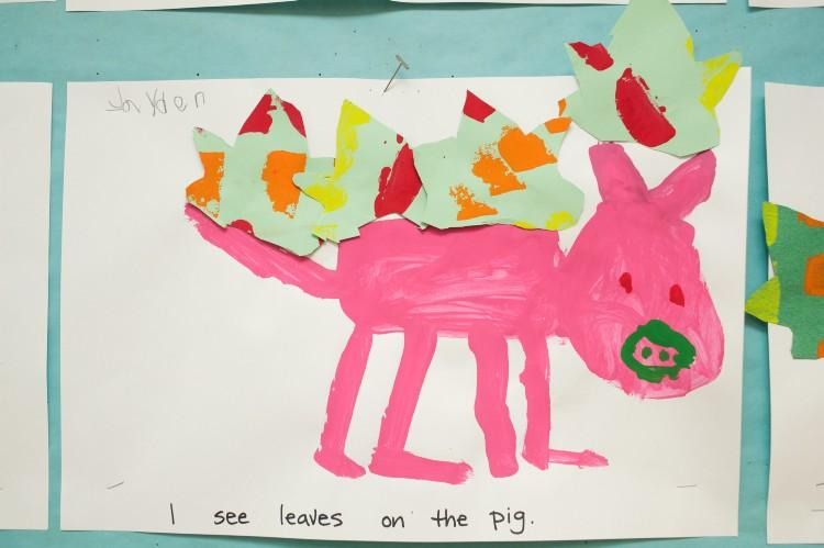 Student artwork of leaves on a pig