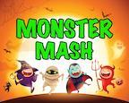 children in Halloween costumes dancing below the title: MONSTER MASH