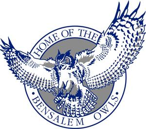 Bensalem High School logo is a blue, gray and white owl with the words