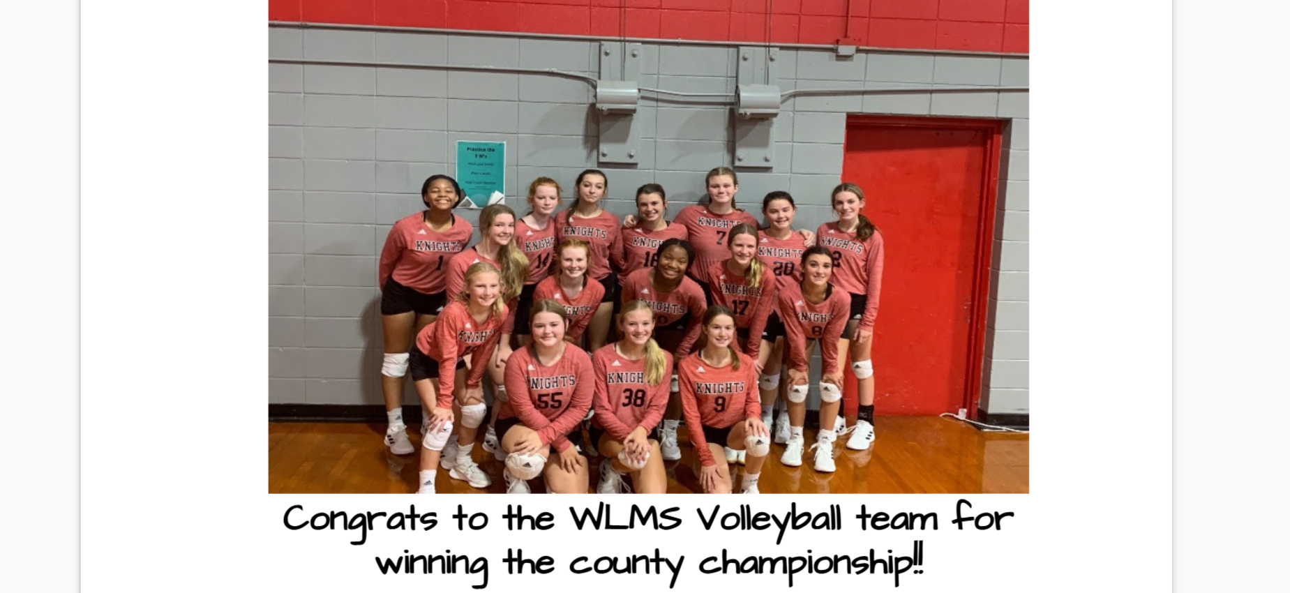 Congrats to WLMS Volleyball for winning the county championship