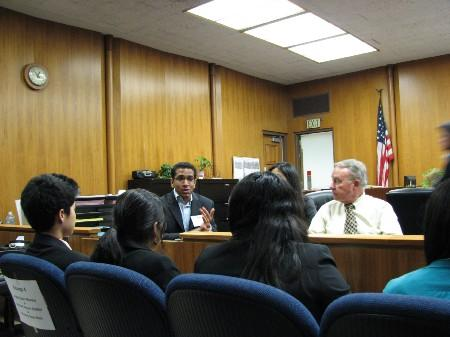 Students at mock trial