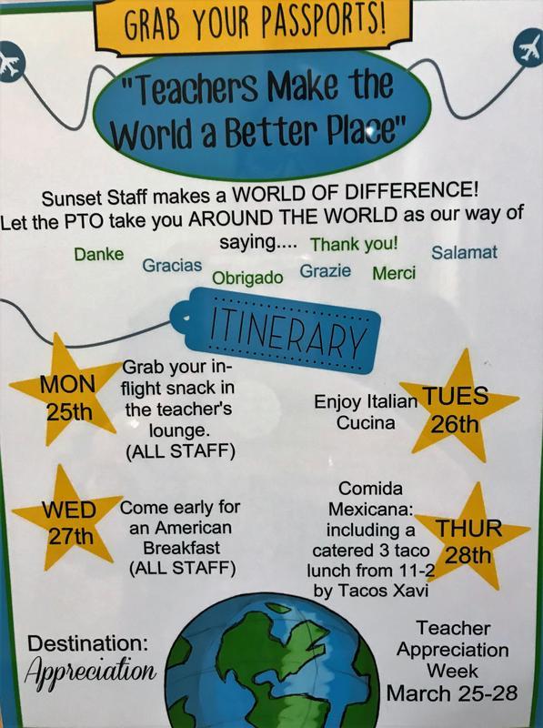 Teacher Appreciation Week Itinerary