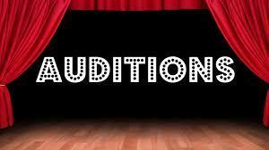 Auditions with stage and curtain in English