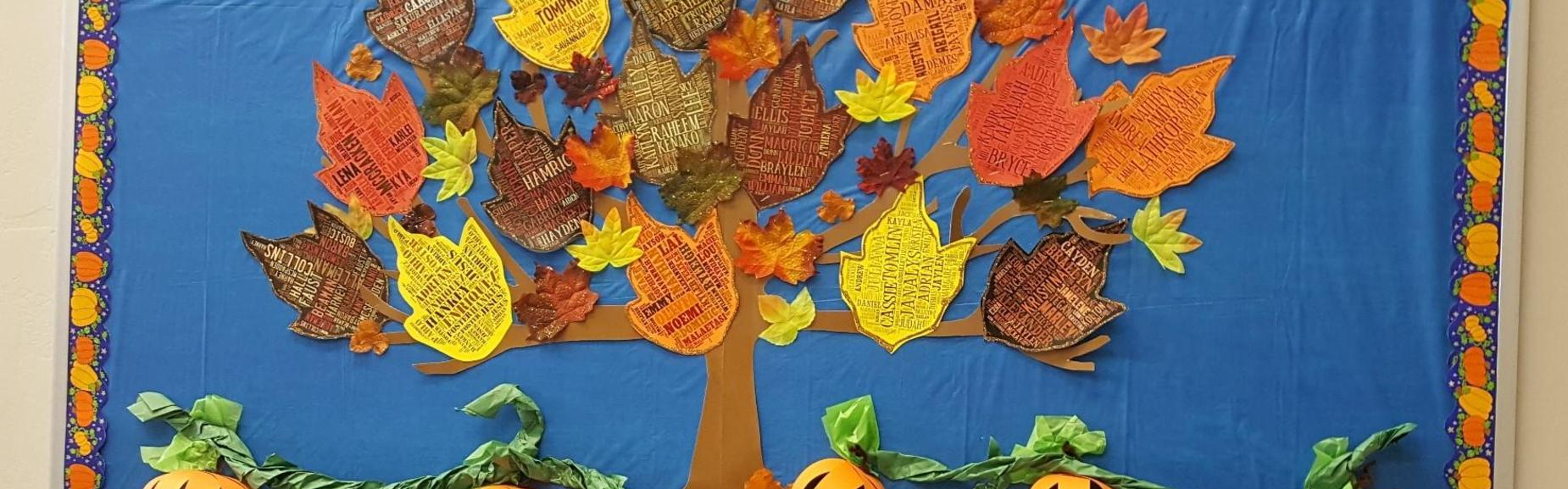 bulletin board with leaves