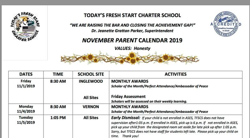 TODAY'S FRESH START CHARTER SCHOOL - NOVEMBER CALENDAR Featured Photo