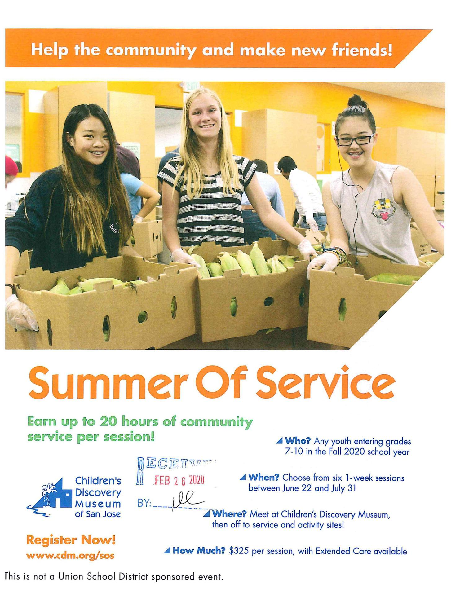 Children's Discovery Museum Summer Service