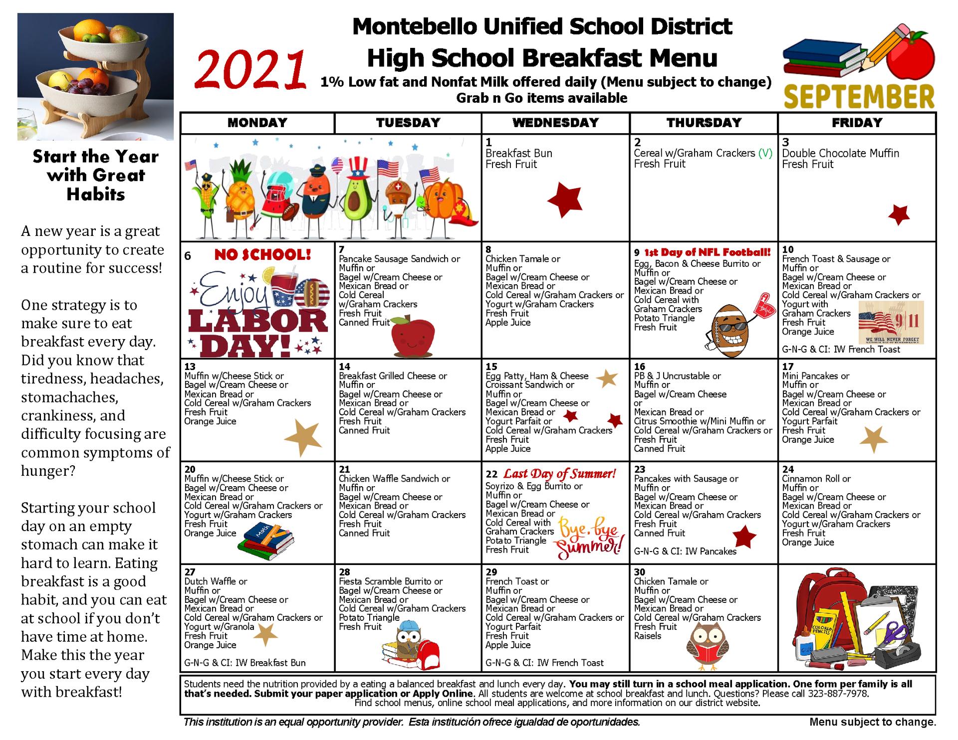 High School Breakfast Menu September 2021