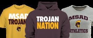 image of three shirts with MSAD Trojans logo
